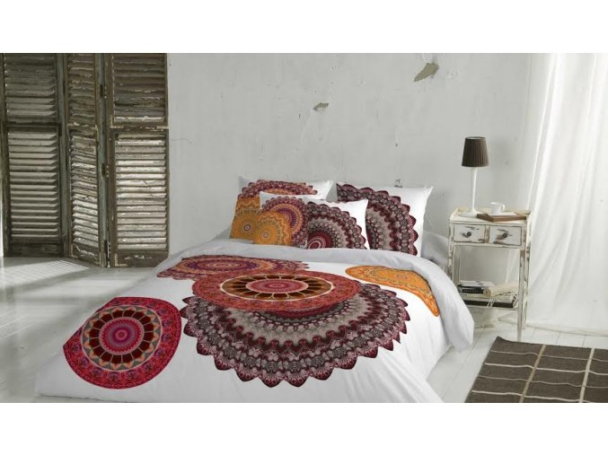 saténové obliečky predĺžené 140x220 cm Mandala fun, farba hnedá