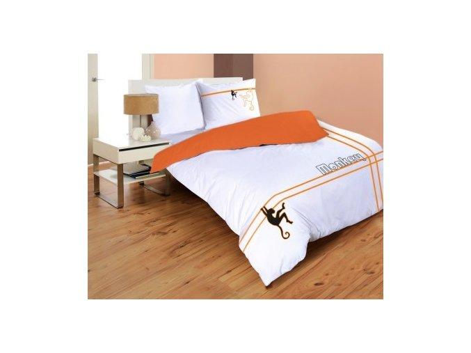 obliečky z bavlneného saténu Monkey v oranžovej farbe