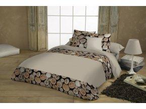 Bavlnené obliečky Wood. Farba béžová a hnedá. Dizajn drevo.
