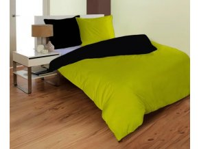 MIKRO BLACK/SPRING GREEN  - obliečky mikrovlákno