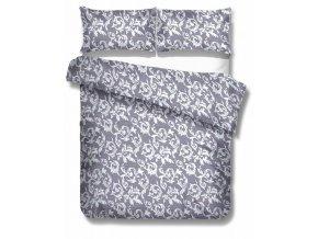 saténové obliečky so žakárovým vzorom v sivej farbe Elegante