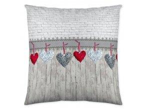 HEARTS GREY - dekoračný vankúš