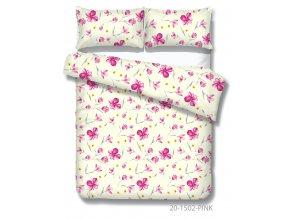 bavlnene obliecky xenia pink s kvetmi