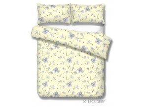 béžové bavlnené obliečky so sivými kvetmi Xénia