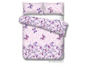 bavlnené obliečky s motýľom Tatiana vo fialovej farbe
