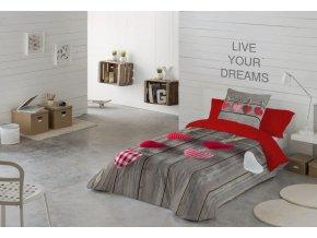 obliečky Hearts Natalia. Farba červená, sivá, šedá. Dizajn srdiečka.