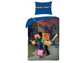 Minecraft blue detské obliečky