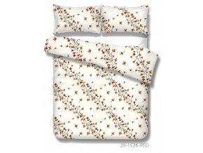 posteľné obliečky Pisa red s červenými kvetmi