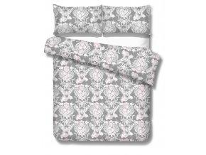posteľné obliečky z bavlneného makosatému v sivej farbe s ornamentom Plaza