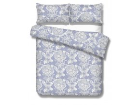 obliečky z bavlneného makosaténu v modrej farbe s ornamentom Plaza blue