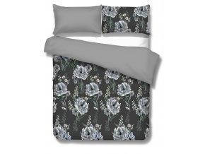 makosaténové obliečky v sivej farbe s kvetmi Pescara grey