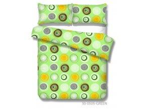 zelené obavlnené obliečky Vilnus green s kruhmi