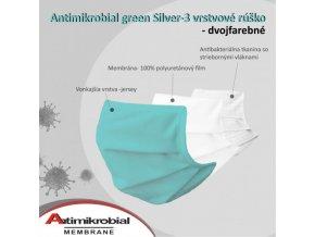 ochrané antibakteriálne rúško zelené s časticami striebra