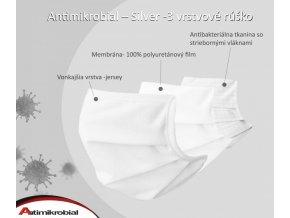 antimikrobial silver 3 vrstvové rúško biele