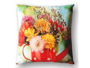 bavlnený dekoračný vankúš s kyticou kvetov
