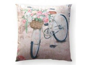 vankúš s bicyklom a košíkom kvetov Fleur bike