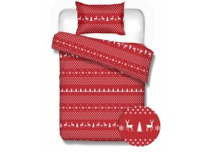 flanelové obliečky červené Norway red 140x200, 70x90 cm