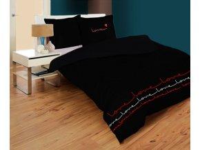 saténové obliečky farba čierna In love rozmer 70x90 cm 140x200 cm na emozzione.sk