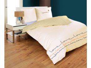 saténové obliečky farba béžová In love rozmer 70x90 140x200 cm