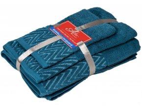 uteráčik 50x30 cm, uterák 50x70 cm osuška 70x140 cm Wave, farba modrá
