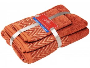 uteráčik 50x30 cm, uterák 50x70 cm osuška 70x140 cm Wave, farba tehlová
