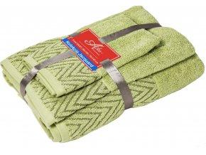 uteráčik 50x30 cm, uterák 50x70 cm osuška 70x140 cm Wave, farba zelená