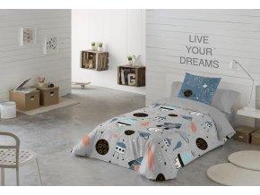 Bavlnené obliečky Explore s lietajúcimi taniermi v sivej farbe