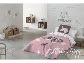 bavlnené obliečky s jednorožcami v ružovej sivej a bielej farbe