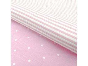 posteľné obliečky Dots Stripe v ružovej farbe