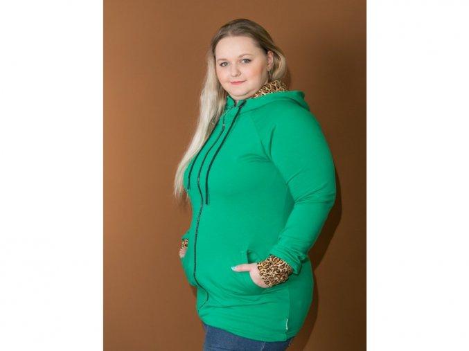 Nosicí mikina Zelená Leo pro přední nošení, XL