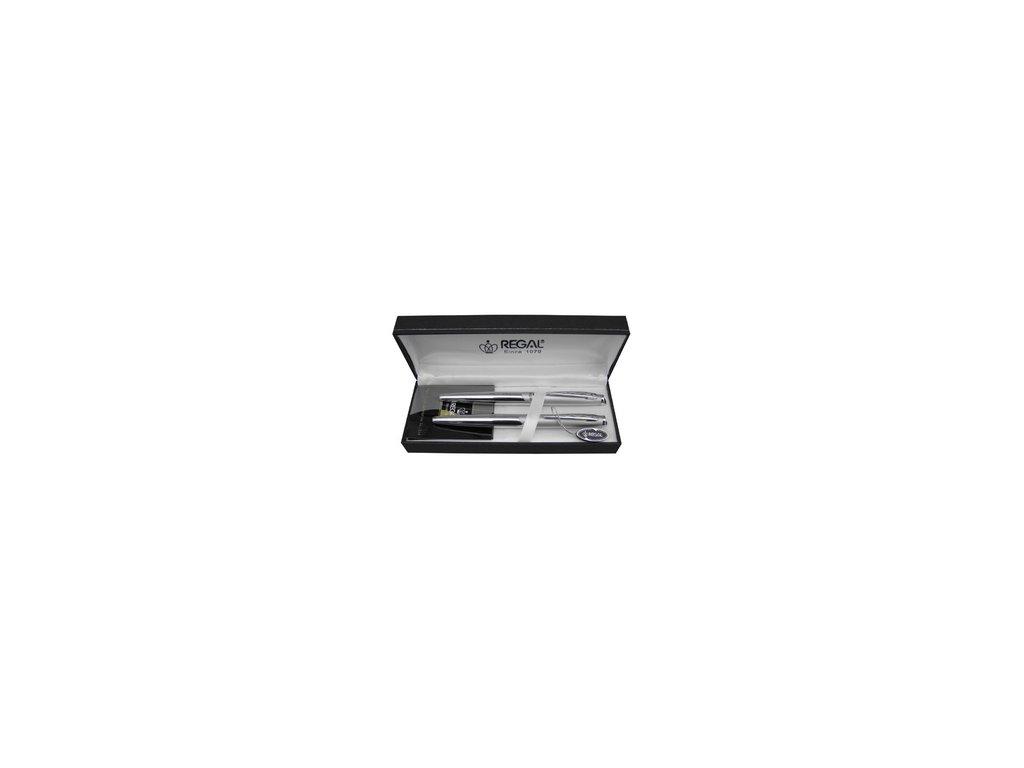 Psací souprava Regal Themis - stříbrná - inkoustové pero + kuličkové pero P25025FB
