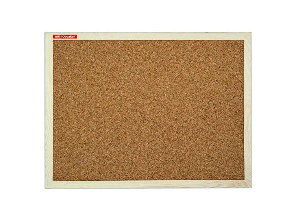 Tabule korková 90x60 cm, dřevěný rám, standard