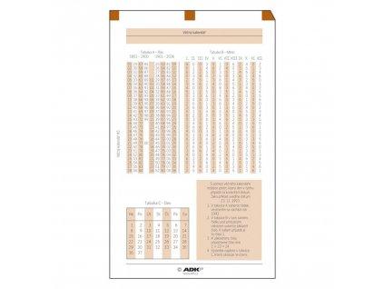 věčný kalendář, ADK, A5