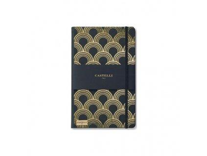 Zápisník Castelli Art Deco gold linka 13x21, 240l B616803