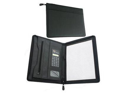 Desky A4 imitace kůže se zipem, kalkulačka, poznámkový blok, kapsy