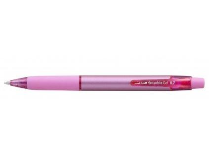 UNI gumovací pero stiskací, růžová, 0.7