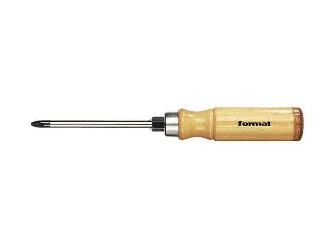 Křižový šroubovák Format Pozidriv PZ 1 s dřevěnou rukojetí