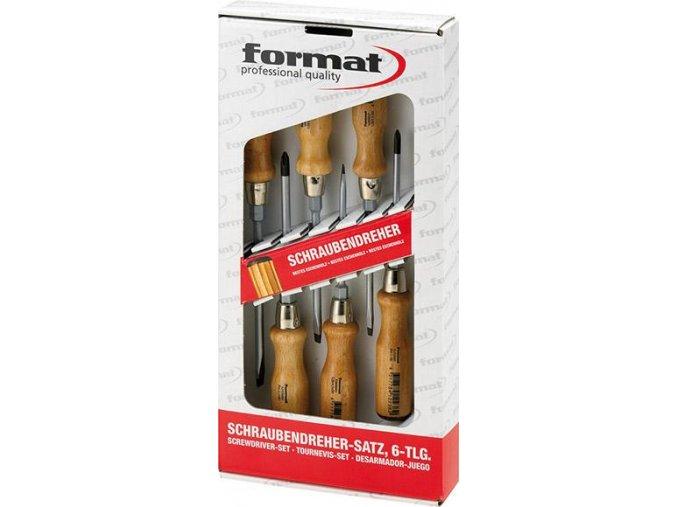 Sada šroubováků Format 6 dílná (ploché+PH) s dřevěnou rukojetí