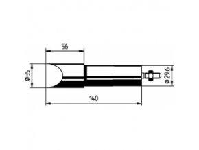 Náhradní pájecí hrot ve tvaru dláta 35 mm pro Ersa MZ550  (552MZ/SB)