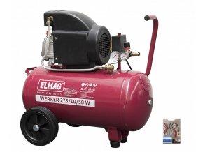 Pístový kompresor ELMAG Werker 275/10/50W - AKCE SET