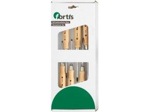 Sada šroubováků Fortis s dřevěnou rukojetí - ploché/PZ