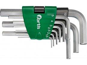 Sada šestihraných klíčů (inbus) Fortis 9 dílná  1,5-10mm