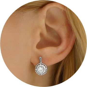 Luxusní stříbrné náušnice Nobless se Swarovski® Crystals  FNJE0877