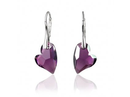 Stříbrné náušnice Devoted 2 U Heart Amethyst se Swarovski Elements