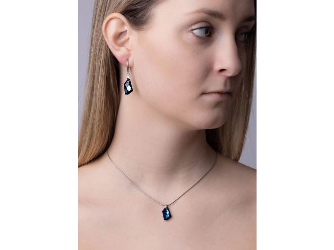 Stříbrné náušnice De-Art Bermuda Blue se SWAROVSKI ELEMENTS