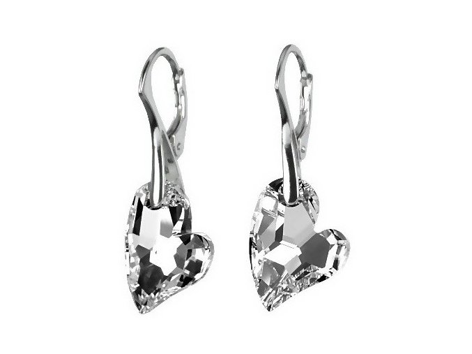 Luxusní stříbrné náušnice Argent Heart se Swarovski Elements