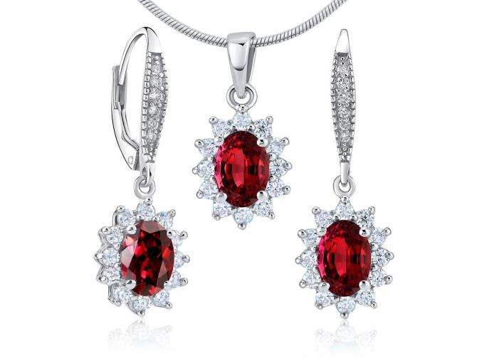 Dárková souprava stříbrných šperků - náušnice a přívěsek se syntetickým rubínem