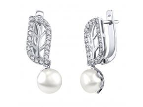 GIO CARATTI stříbrné náušnice s bílou sladkovodní perlou