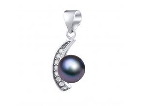 GIO CARATTI stříbrný přívěsek s přírodní perlou v barvě Tahiti