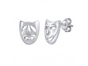 Stříbrné náušnice divadelní masky